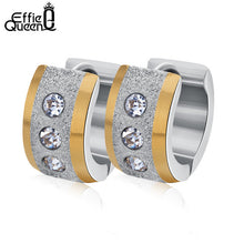 Effie Queen Stainless Steel Round Hoop Earrings With Cubic Zirconia