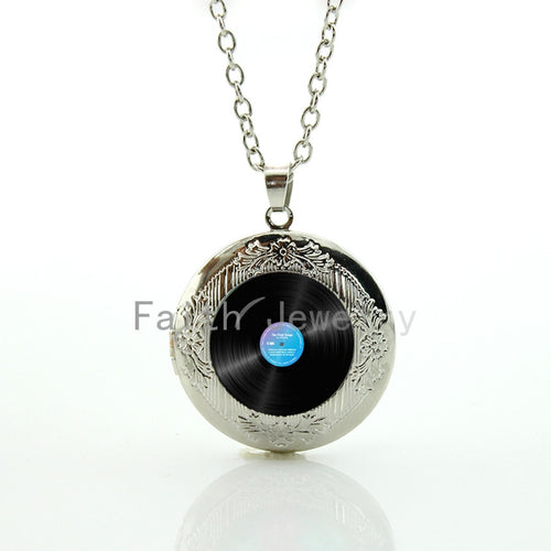 Men's Popular Vinyl Disc Gramophone Record Locket Necklace By WEI JIAO