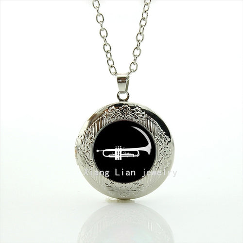 Men's Glass Locket Trumpet Necklace Pendant By WEI JIAO