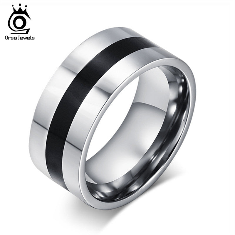 Classic 9mm Width Men's Stainless Steel Black Designer Ring By Alisouy