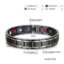 Load image into Gallery viewer, Designer Health Energy Black Stainless Steel Bio Magnetic Bracelet By  Vinterly