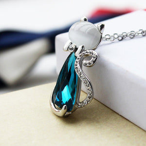 Miss Lady Gold Color Rhinestone Crystal Bow Cat Necklace For Women