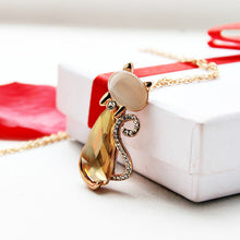 Load image into Gallery viewer, Miss Lady Gold Color Rhinestone Crystal Bow Cat Necklace For Women