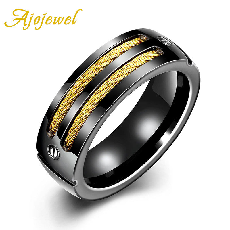 Men's Titanium Steel Black Gold-Color Wedding Band Style Ring By Ajojewel