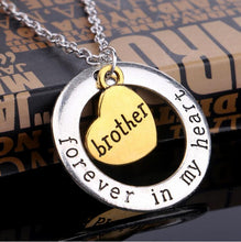 "Women's ""Sister Forever In My Heart"" Round Sister Love Pendant Necklace By CHIC DREAM"