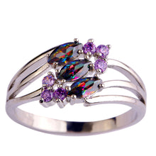 Lingmei Mysterious Rainbow CZ Purple  Silver & 18K White Gold Color Ring