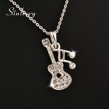 Women's Rose Gold Color Musical Note Guitar Pendant Necklace By SINLEERY