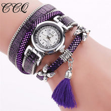 CCQ Original  Silver Bracelet Tassel Pendant Wristwatch With Vintage Leather & Quartz Movement