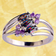 Load image into Gallery viewer, Lingmei Mysterious Rainbow CZ Purple  Silver & 18K White Gold Color Ring