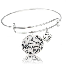 Woman's Kind Happy Strong Thankful Brave Bangle Charm Bracelet