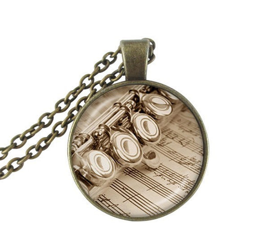 Unisex Glass Dome Flute Pendant Chain Necklace By One Quarter