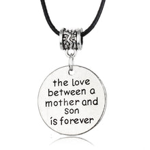 "Women's Silver Plated ""The Love Between A Mother And Son Is Forever"" With Rope Leather Chain"