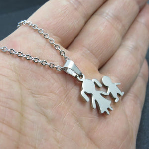 Unisex Stainless Steel Sister And Brother Together Pendant Necklace