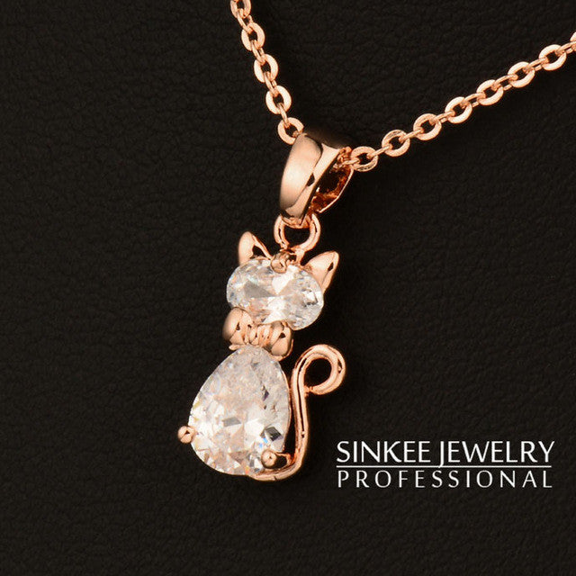 White Cubic Zirconia Rose Gold Color Chain Cat Pendant Necklace For Women By SILVERY