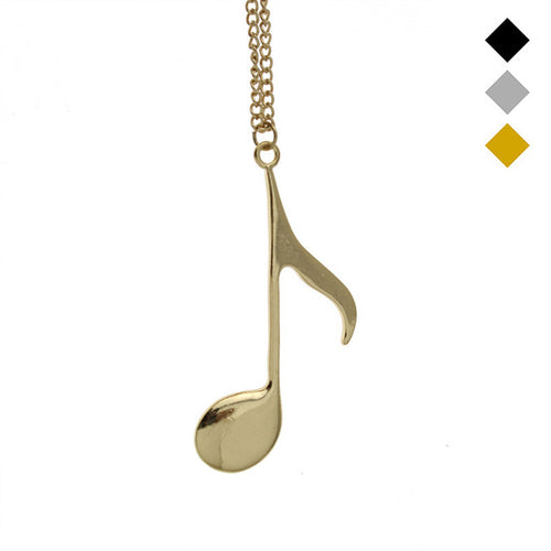 Women's Gold/Silver/Black Tone Music Note Pendant