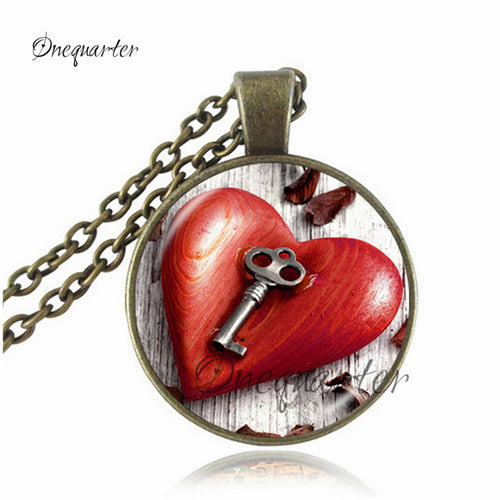 Unisex Picture Music Key Heart Pendant Necklace By One Quarter
