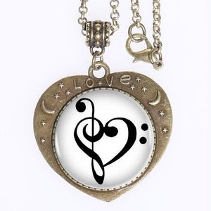 Women's Bronze Treble And Bass Clef Pendant Heart Necklace By SERYNOW