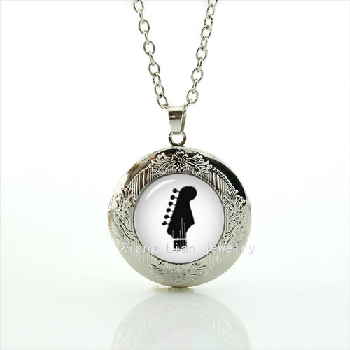 Men's Glass Guitar Locket Necklace By WEI JIAO