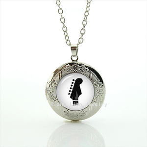 Men's Glass Guitar Link Chain Picture Locket Necklace By WEI JIAO