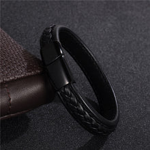 Punk Rock Black Braided Genuine Leather Bracelet With Stainless Steel Magnetic Buckle By Jiaqi