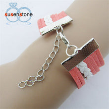 SUSENSTONE Exquisite Nautical Rudder Leather  Anchor Infinity Bracelet,  For Women
