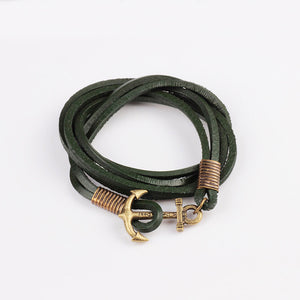 Retro Anchor Leather Bracelet-4 Colors To Choose From