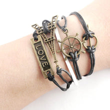 Load image into Gallery viewer, Unisex Handmade Vintage Bronze Tower Of Love Leather Weave Anchor Bracelet