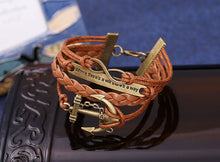 Load image into Gallery viewer, Women's Rudder Anchor Multilayer Knit Leather Chain Charms Bracelet