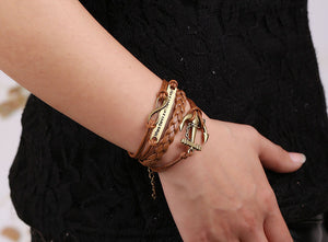 Women's Rudder Anchor Multilayer Knit Leather Chain Charms Bracelet