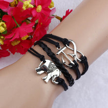 Women's Elephant  Charms Anchor  Knit Leather Rope Chain Bracelet