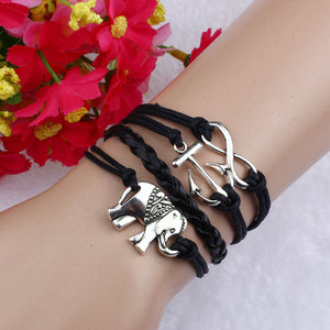 Women's Elephant  Charms Leather Rope Chain Bracelet