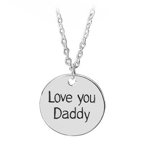 "Father's Day Gift ""Love You Daddy"" Round Pendant Alloy Necklace By, zheFanku"