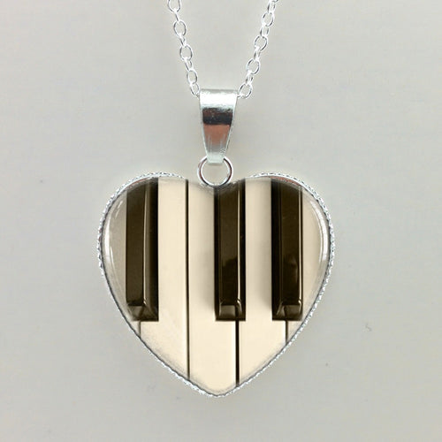 Glass Dome Piano Keyboard Heart Shaped Necklace By Hzhinling