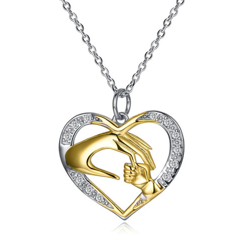 Pure .925 Sterling Silver Mother & Child Heart Shaped Pendant Necklace