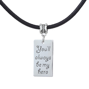 """You will always be my hero"" Leather Rope Pendant Necklace By, zheFanku"