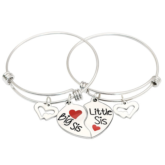2Pc Broken Heart 'Big Sis /Little Sis' Bracelet By, XIAOJINGLING
