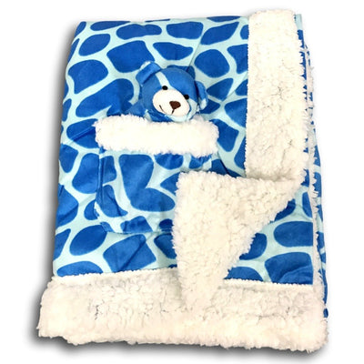 Plush Reversible Velour and Sherpa Baby Blanket with Stuffed Toy