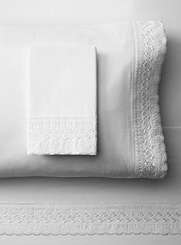 Kate Cotton Percale Embroidered Lace White Sheet Set
