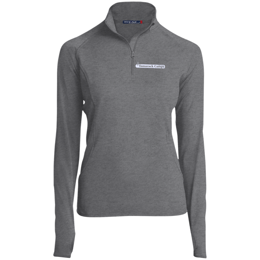 Ladies 1/2 Zip Performance Pullover- White Logo