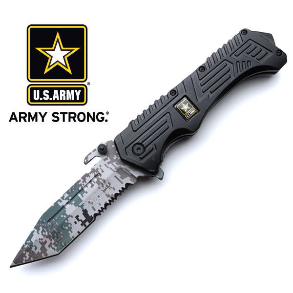 Official US Army Assisted Opening Pocket Knife - Digital Army Green Camo Tanto Blade