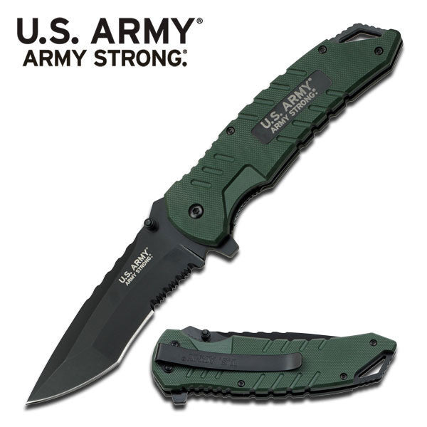 U.S. ARMY Spring Assist Knife Green G10 Handle Serrated Blade