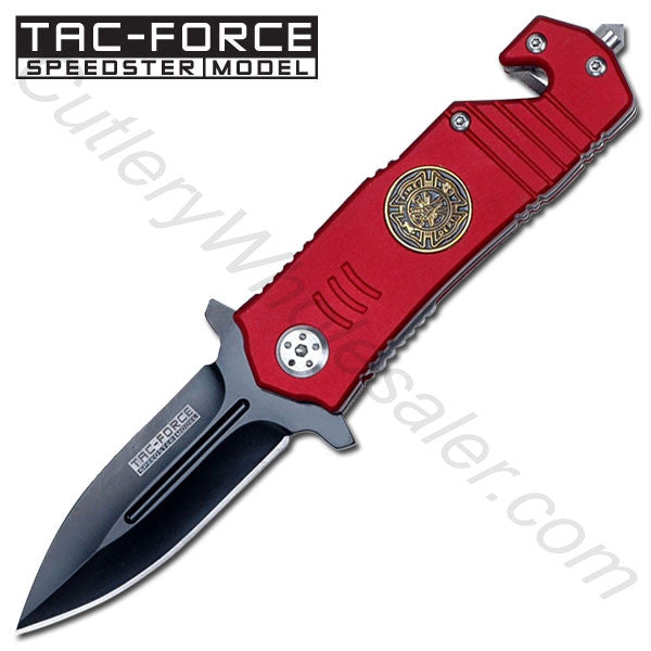 """ Fire Dept. "" Stiletto Style Rescue Folder Spring Assist Knife"