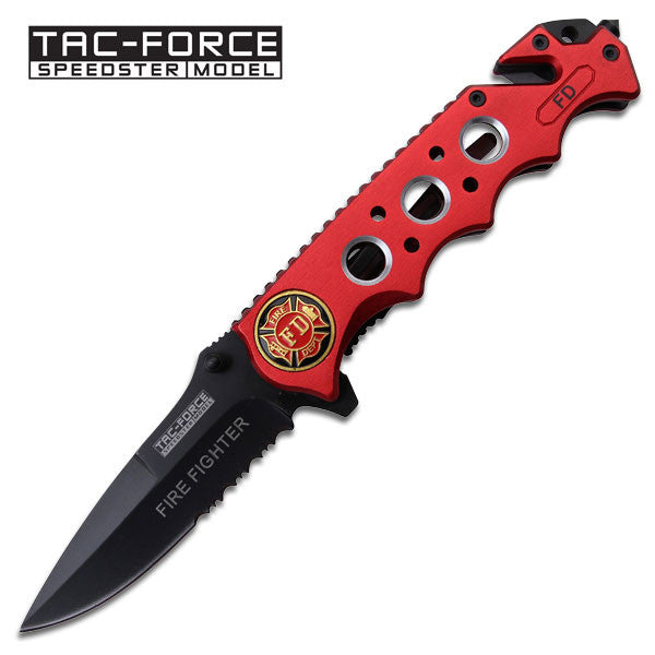 Fire Fighter Rescue Spring Assist Knife - Red Handle