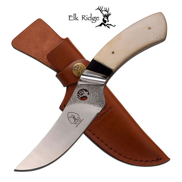 Elk Ridge 9.75 Inch Fixed Blade Hunting Knife Bone Handle