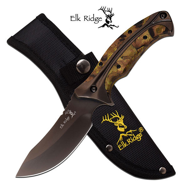 Elk Ridge 8.75 Inch Overall Fixed Blade Hunting Knife Woodline Camo