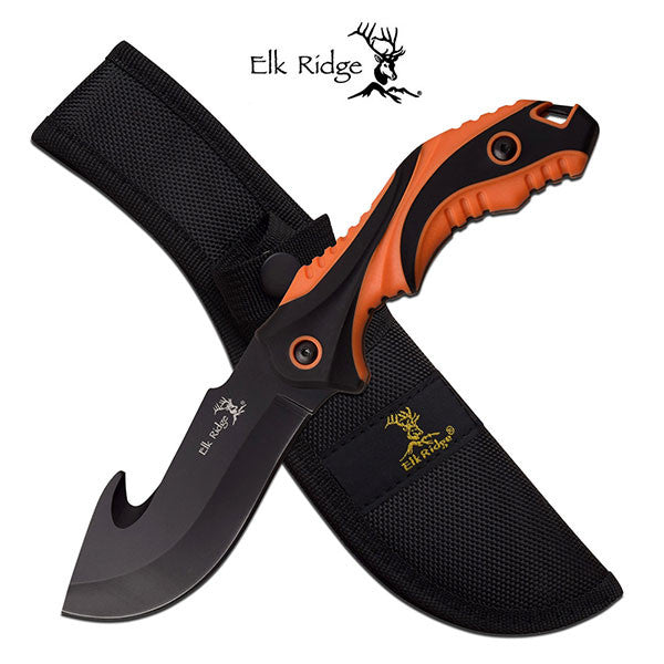 Elk Ridge 9.2 Inch Fixed Blade Gut Hook Hunting Knife Orange Black