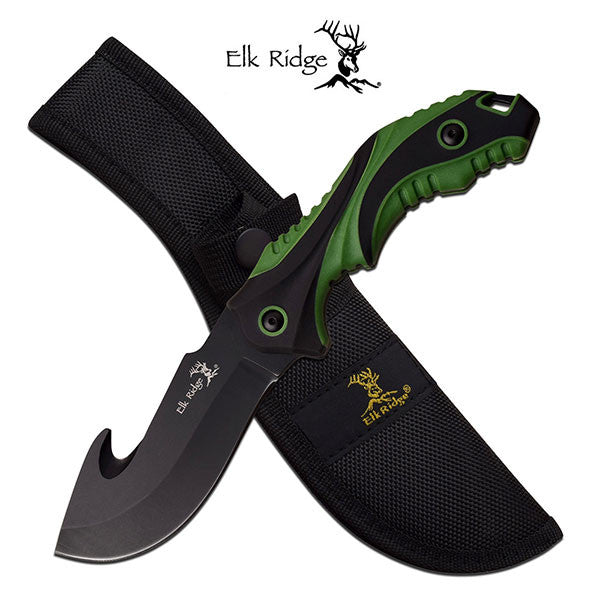 Elk Ridge 9.2 Inch Fixed Blade Gut Hook Hunting Knife Green Black