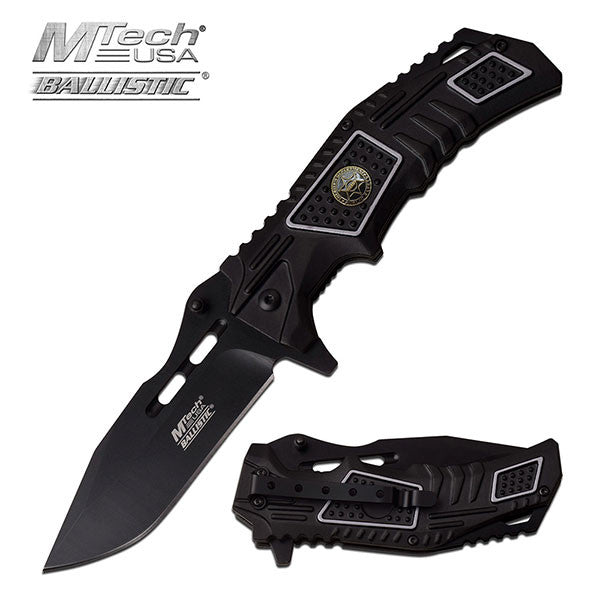 MTech USA Ballistic 4.7 Inch Spring Assisted Knife Sheriff Logo
