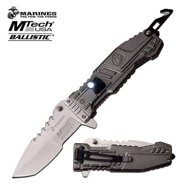 MTech US Marines Tactical Spring Assisted Knife Grey LED Light