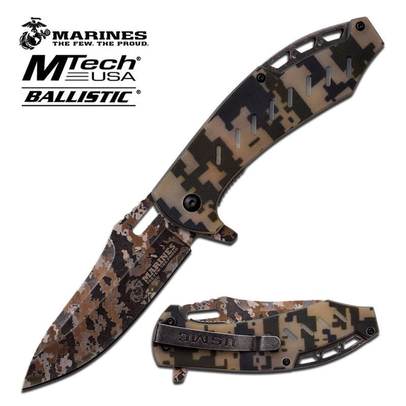 US Marines Spring Assisted Folding Knife Full Digital Camo